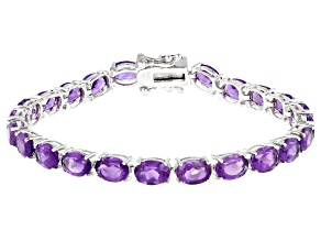 Pre-Owned Amethyst Rhodium Over Sterling Silver Bracelet 10.50ctw