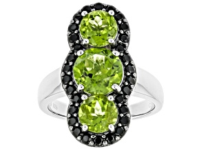 Pre-Owned Green Peridot Rhodium Over Sterling Silver Ring 4.20ctw