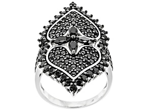 Pre-Owned Black Spinel Rhodium Over Sterling Silver Ring 3.30ctw
