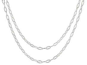 Pre-Owned Sterling Silver Tuscan Sun Oval Rolo Necklace Set of Two 20 and 24 Inches