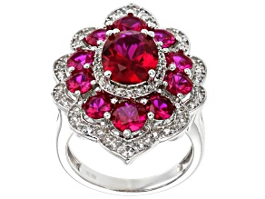 Pre-Owned Red Lab Created Ruby Rhodium Over Sterling Silver Ring 6.01ctw