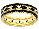 Pre-Owned Black spinel 18k yellow gold over sterling silver ring 0.78ctw