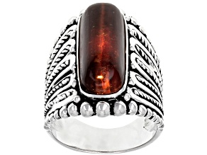 Pre-Owned Red tiger's eye rhodium over sterling silver ring