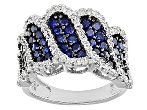 Pre-Owned Blue And White Cubic Zirconia Rhodium Over Silver Ring 2.78ctw
