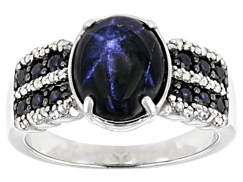 Pre-Owned Blue Star Sapphire Rhodium Over Sterling Silver Ring  4.69ctw