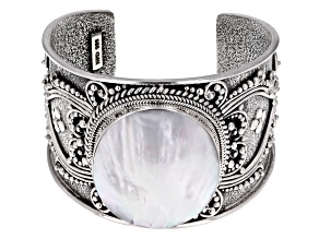 Pre-Owned White Mother Of Pearl Sterling Silver Cuff Bracelet