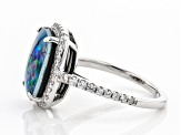 Pre-Owned Multicolor Australian Mosaic Opal Triplet Rhodium Over Silver Ring .45ctw