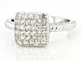 Pre-Owned White Zircon Rhodium Over Sterling Silver Ring 0.7ctw