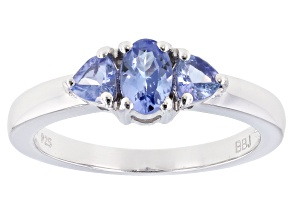 Pre-Owned Blue Tanzanite Rhodium Over Sterling Silver 3-Stone Ring .80ctw