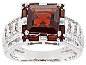 Pre-Owned Red Garnet Rhodium Over Sterling Silver Ring 3.54ctw