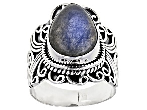Pre-Owned Gray Labradorite Sterling Silver Ring