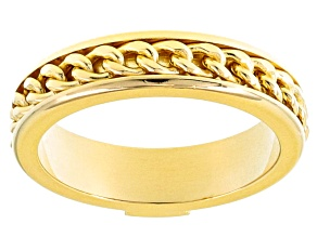 Pre-Owned 18k Yellow Gold Over Bronze Curb Band Ring