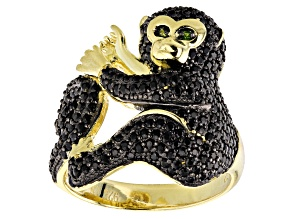 Pre-Owned Black spinel 18k gold over silver monkey ring 1.69ctw