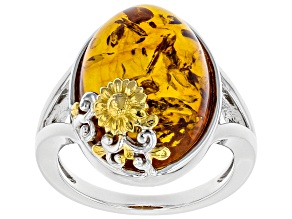 Pre-Owned Orange Amber Rhodium Over Silver With 18k Gold Enhanced Sunflower Detail Ring