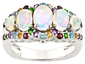 Pre-Owned Ethiopian Opal Rhodium Over Sterling Silver Ring 1.91ctw