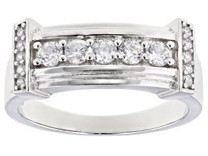 Pre-Owned White Cubic Zirconia Rhodium Over Sterling Silver Mens Ring 1.33ctw