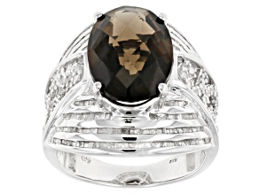 Pre-Owned Brown Brazilian Smoky Quartz Sterling Silver Ring 5.96ctw