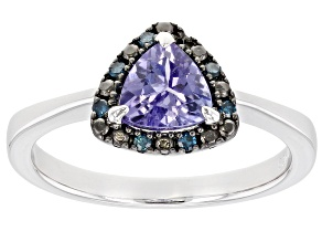 Pre-Owned Blue Tanzanite Rhodium Over Sterling Silver Ring .69ctw