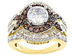 Pre-Owned White And Brown Cubic Zirconia 18k Yellow Gold Over Silver Ring 6.55ctw (3.80ctw DEW)