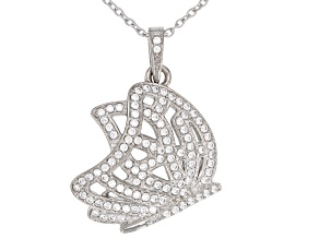 Pre-Owned White Cubic Zirconia Rhodium Over Sterling Silver Butterfly Pendant With Chain 1.21CTW