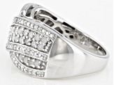 Pre-Owned White Diamond Rhodium Over Sterling Silver Crossover Ring 0.50ctw