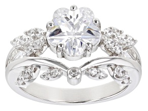 Pre-Owned White Cubic Zirconia Rhodium Over Sterling Silver Flower Ring 3.25ctw