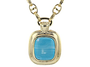 Pre-Owned Turquoise Simulant Gold Tone Necklace