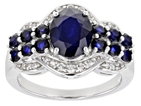 Pre-Owned Blue sapphire rhodium over sterling silver ring 3.07ctw