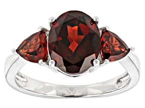 Pre-Owned Red Garnet Rhodium Over Silver Ring 4.03ctw