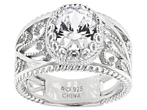Pre-Owned White Cubic Zirconia Rhodium Over Sterling Silver Ring 4.15ctw
