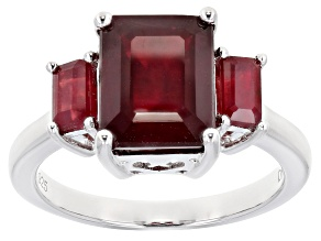 Pre-Owned Red Ruby Rhodium Over Silver Ring 4.77ctw