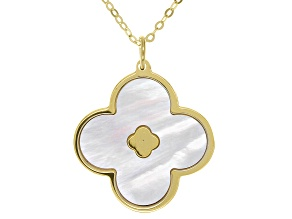 Pre-Owned White Mother Of Pearl  10K Yellow Gold Clover Shape Necklace 18 Inch