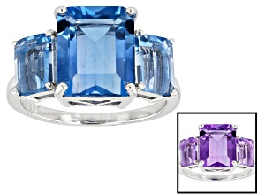 Pre-Owned Blue color change fluorite rhodium over silver ring 6.72ctw