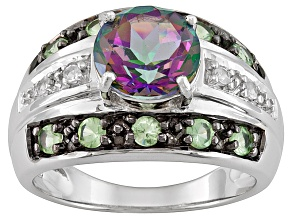 Pre-Owned Multi-Color Mystic Topaz Rhodium Over Sterling Silver Ring 2.78ctw