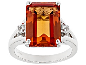 Pre-Owned Orange Lab Created Padparadscha Sapphire Rhodium Over Sterling Silver Ring 8.54ctw