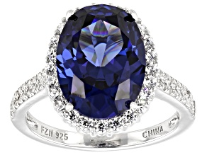 Pre-Owned Blue And White Cubic Zirconia Rhodium Over Sterling Silver Ring 10.38ctw