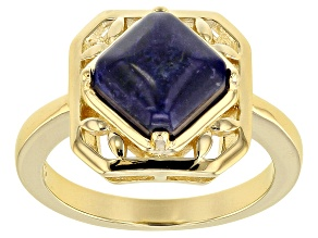 Pre-Owned Blue sodalite 18k gold over sterling silver solitaire ring