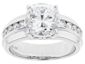 Pre-Owned Dillenium Cut White Cubic Zirconia Rhodium Over Sterling Silver Ring 6.30ctw
