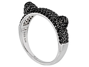 Pre-Owned Black Spinel Rhodium Over Sterling Silver Ring 1.29ctw