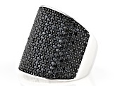 Pre-Owned Black Spinel Rhodium Over Sterling Silver Cluster Ring 2.75ctw
