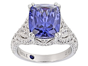 Pre-Owned Womens Cocktail Ring Blue White Cubic Zirconia 10ctw Platineve