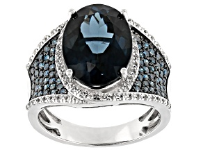 Pre-Owned London blue topaz rhodium over silver ring 7.20ctw
