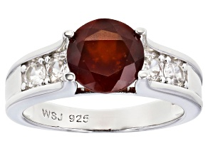Pre-Owned Red Hessonite Rhodium Over Silver Ring 2.27ctw