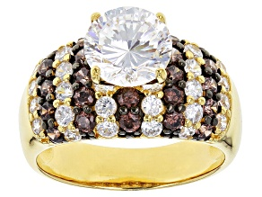 Pre-Owned White And Brown Cubic Zirconia 18k Yellow Gold Over Silver Ring 6.31ctw (3.60ctw DEW)