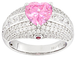 Pre-Owned Pink And White Cubic Zirconia And Synthetic Ruby Rhodium Over Silver Heart Ring 5.81ctw