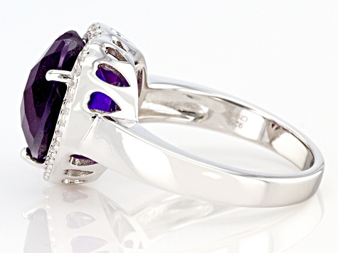 Pre-Owned Heart Shape Amethyst Rhodium Over Sterling Silver Heart Ring 4.70ctw