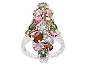 Pre-Owned Multi-Tourmaline Rhodium Over Sterling Silver Ring 2.95ctw
