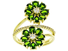 Pre-Owned Green Chrome Diopside 18k Yellow Gold Over Sterling Silver Ring 3.24ctw