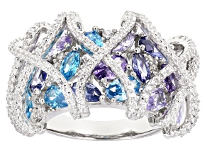 Pre-Owned White,Lavender,Purple,Aqua,&Blue Cubic Zirconia Rhodium Over Silver Ring 7.05ctw