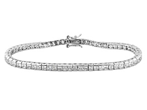 Pre-Owned White Cubic Zirconia Rhodium Over Sterling Siler Bracelet 12.81ctw